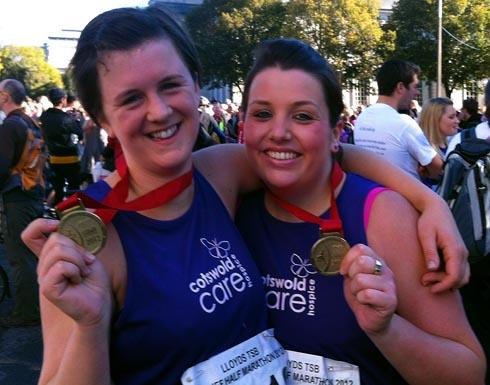 Stroud News and Journal: Jess Banks (left) with her friend Rachel Burgess who raised money for Cotswold Care Hospic