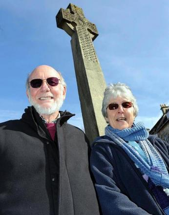 Nailsworth Archives members Mike Harvey and Ros John by the town's war memorial