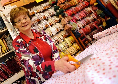 Jackie Hall, owner of Sew and So, the needlecraft and haberdashery store that celebrated it's 35th anniversary on Monday, February 11