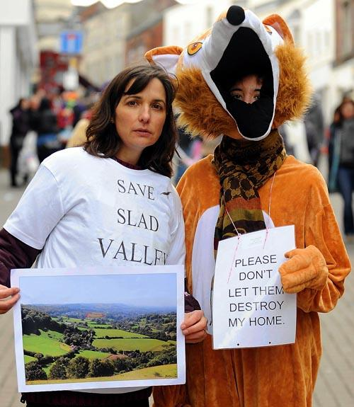 Slad Valley Action Group member Anita Lippet (left) with Phoebe Wright, 13, dressed up as a fox in Stroud High Street on Saturday
