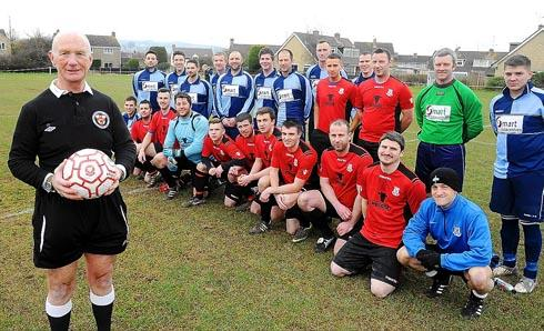 HONOUR: Brian Stevens with the teams before the kick-off  Picture: Steve Richards