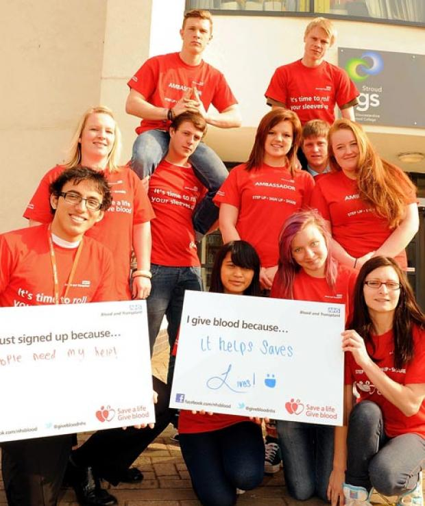Students were raising awareness to encourage more young people in Gloucestershire to become blood donors at Stroud College on Monday