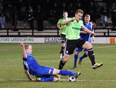 Yan Klukowski in action for Forest Green against Grimsby Town: Picture: Shane Healey