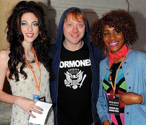 Rupert Grint pictured with two performers at the recent Kick Start The Summer concert in Stroud
