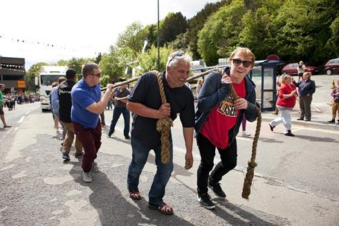 Harry Potter star Rupert Grint and event organiser Gary Gardner at last year's truck pull challenge. The event will be returning to Stroud on Monday, May 26