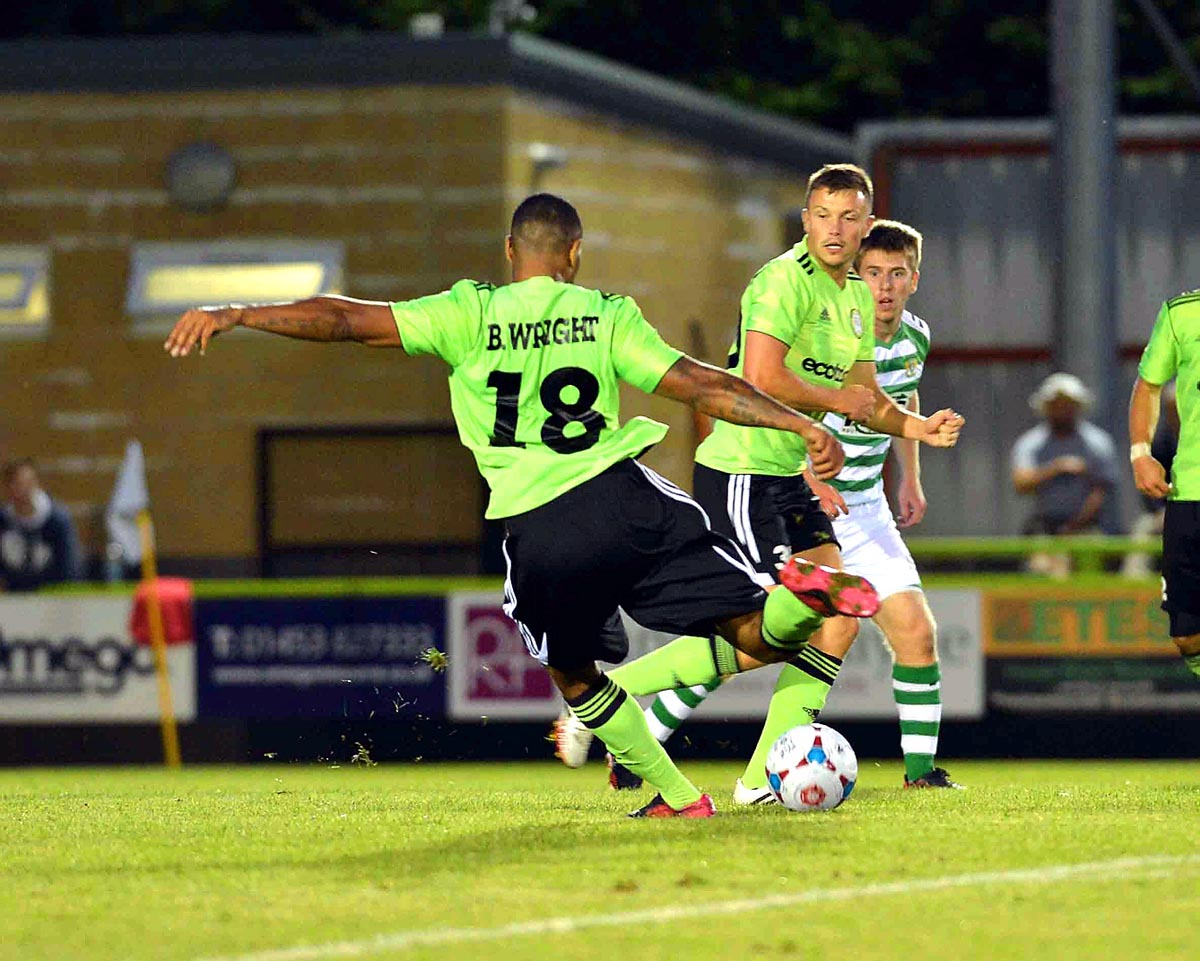 GOAL: Matthew Barnes-Homer, sporting Ben Wright's shirt, scoring against Yeovil Town at the New Lawn on Monday. Picture: Bruce Fenn