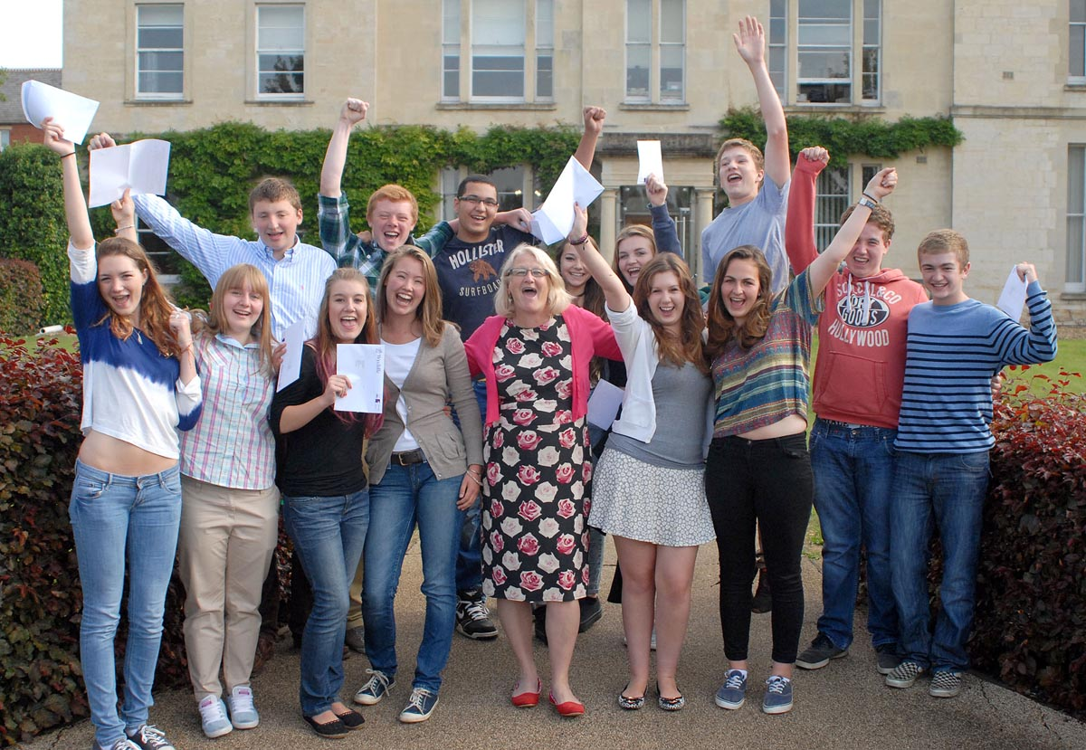 Wycliffe Headteacher, Margie Burnet Ward and pupils celebrate fantastic GCSE results