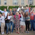 Stroud News and Journal: Wycliffe Headteacher, Margie Burnet Ward and pupils celebrate fantastic GCSE results