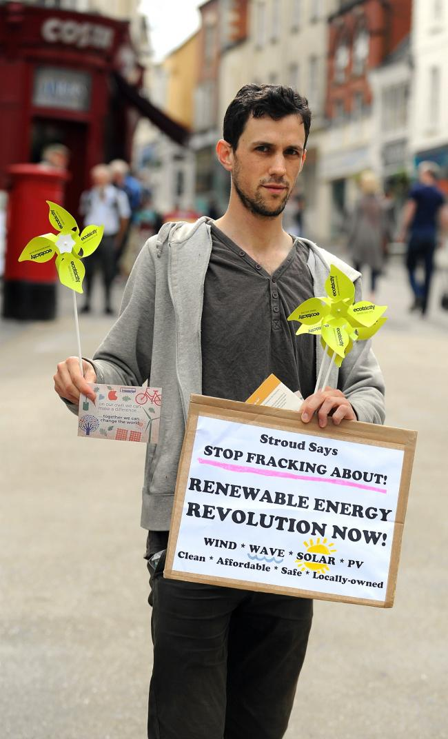 Environmental activist James Beecher protests against fracking in Stroud High Street