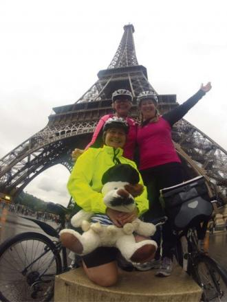 PC Liz Leonard, Insp Karen Ellis and Sarah Donnelly cycled from Tower Bridge to the Eiffel Tower to raise money for the Cotswold Care Hospice (1202723)