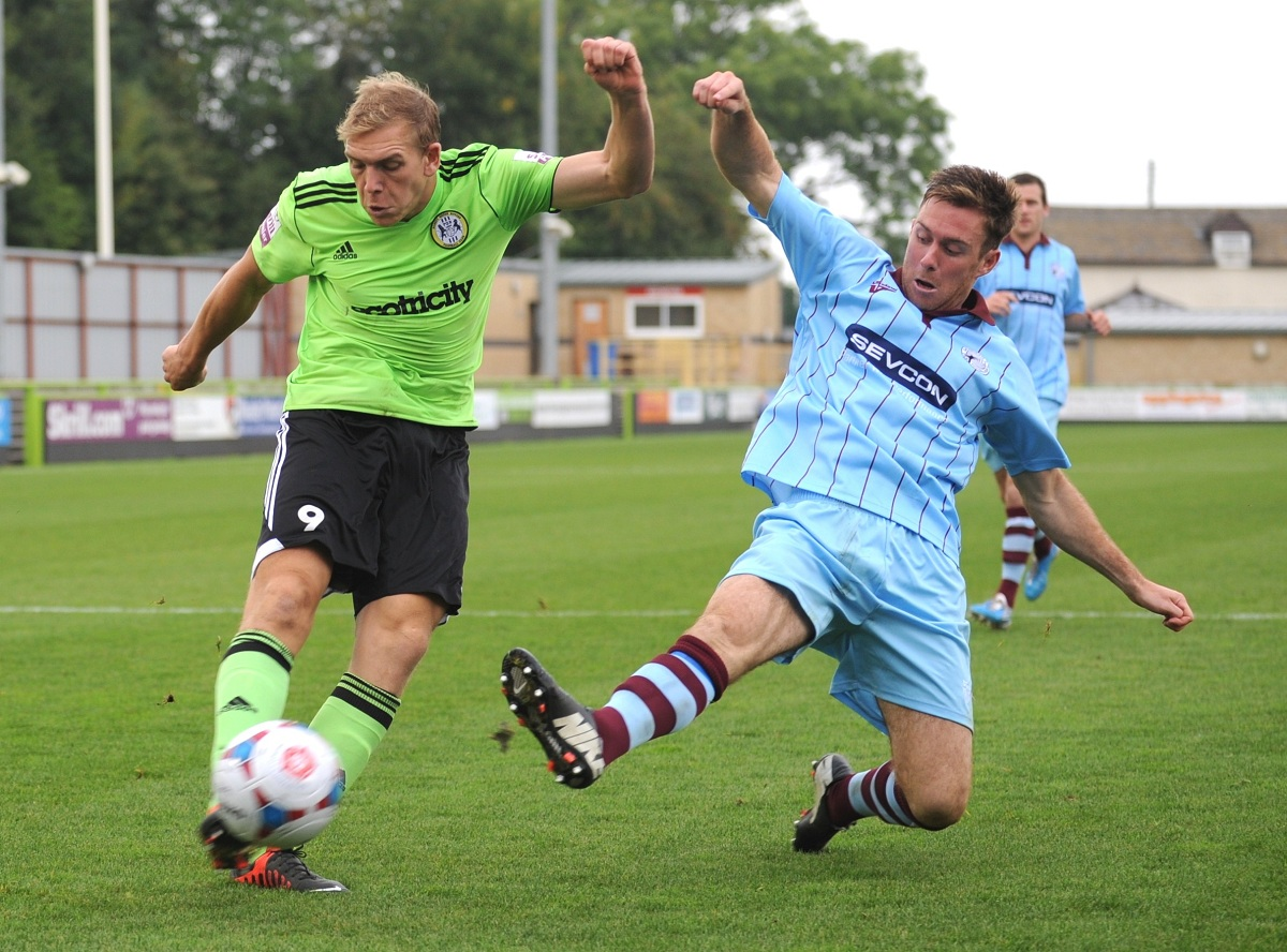OFF: Danny Wright was red-carded at Chorley    Pic: Tom Wren