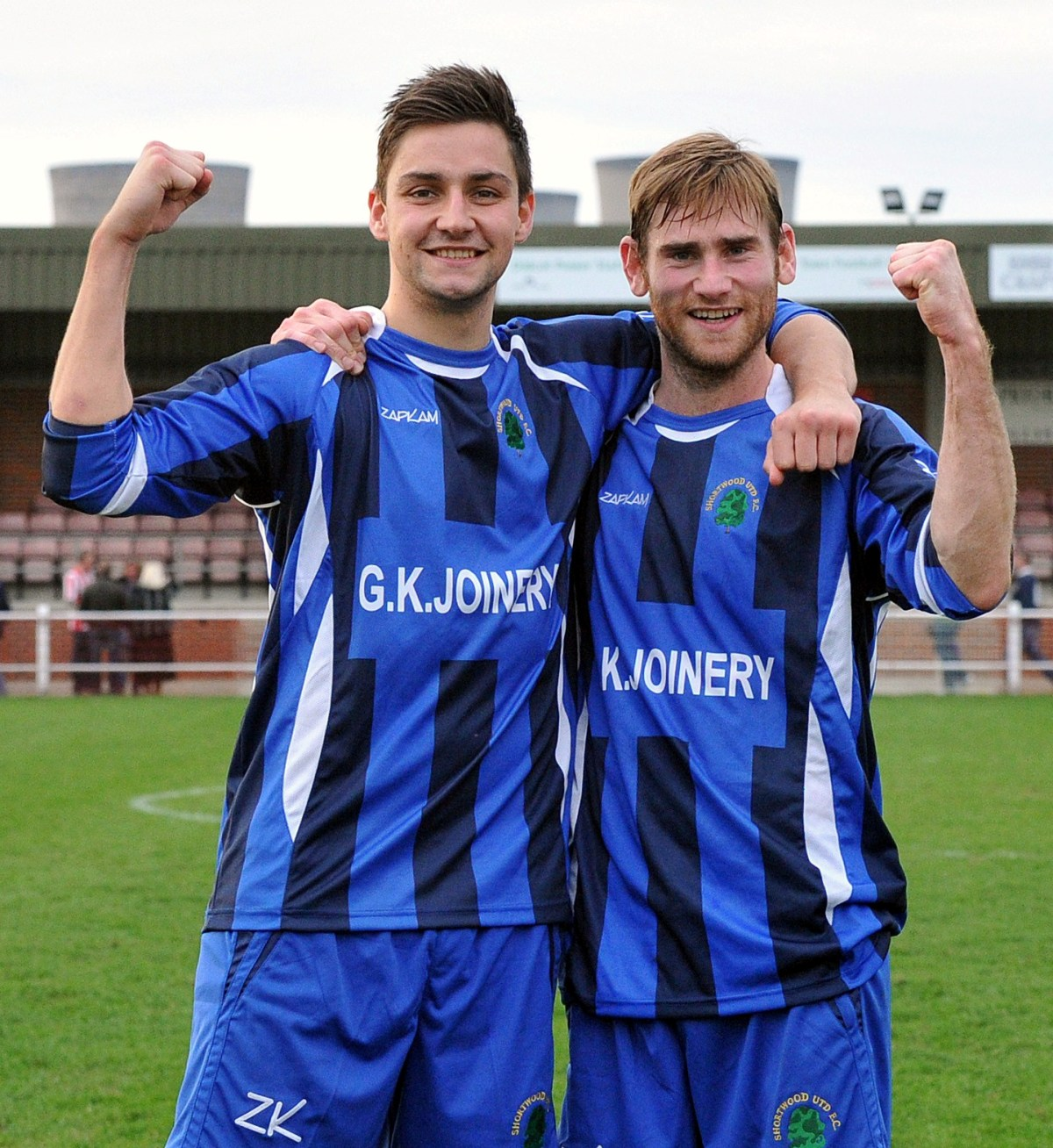 CELEBRATE: Shortwood stars Tim Haddock and Duncan Culley Picture:Brian Rossiter