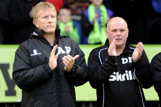 POSITIVE: FGR boss Ady Pennock and  assistant Dave Kevan