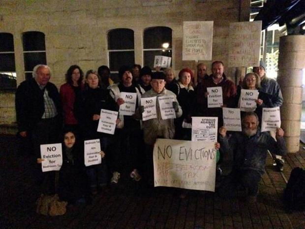 Members of Stroud Against The Cuts protesting against the so-called 'bedroom tax' outside Ebley Mill last night