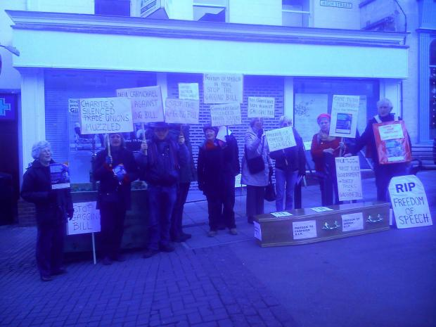 Freedom of speech campaigners held a protest against the so-called 'gagging law' in Stroud over the weekend