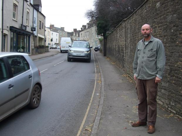 Tetbury resident Peter Martin standing on Bath Road where the hunt hurtled up into the town centre on Monday