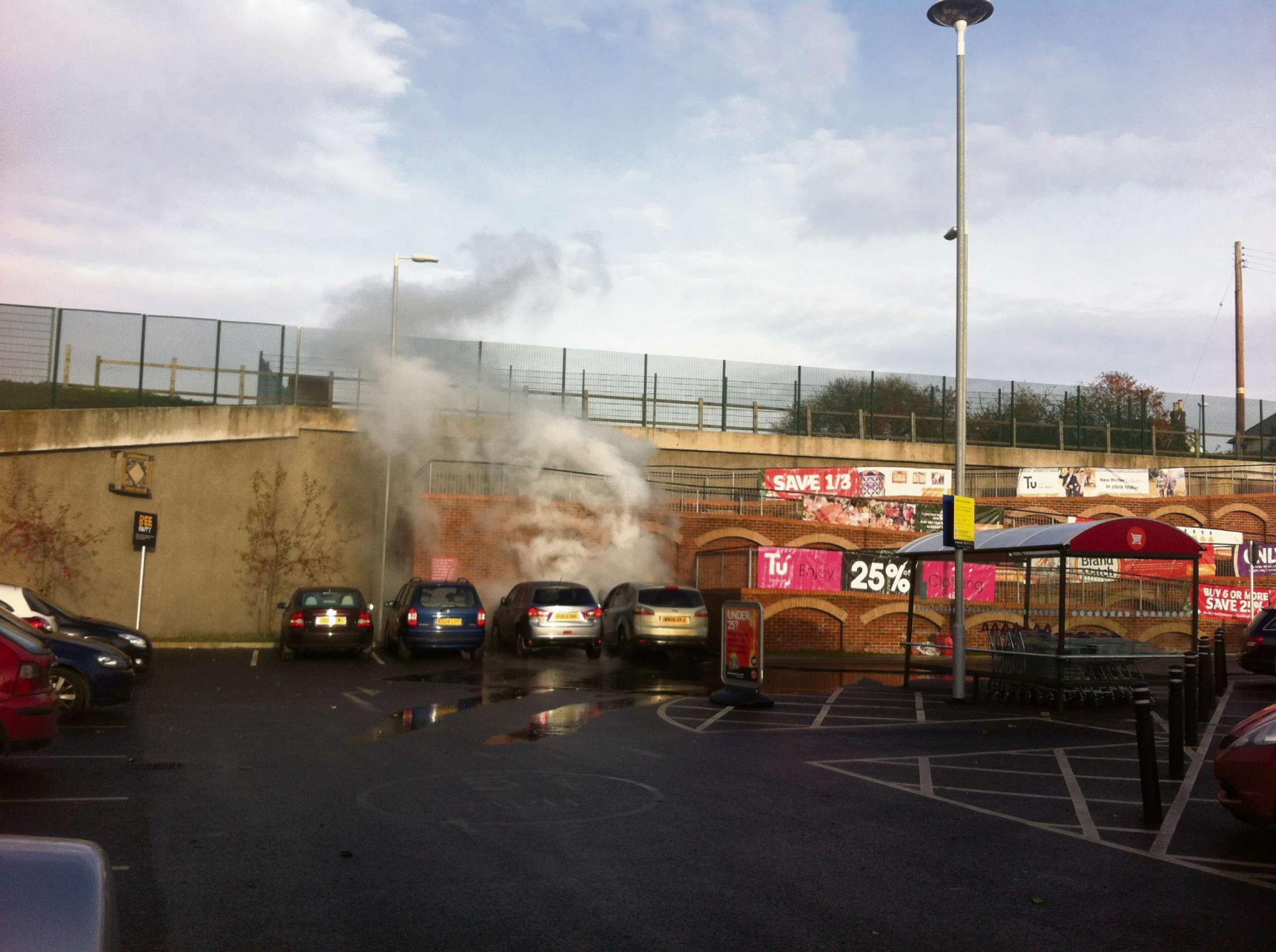 Woman escapes from burning car in Dursley supermarket car park