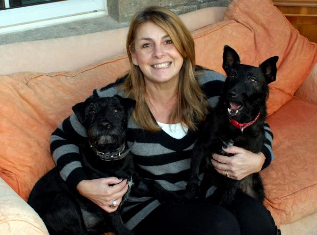 Liza Bewick with her dogs MJ (left) and Millie who went missing in a cave near Brownshill for six days (3178869)