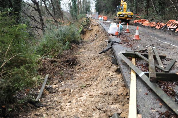 Road blocked after motorists ignore diversion route around Horsley landslip