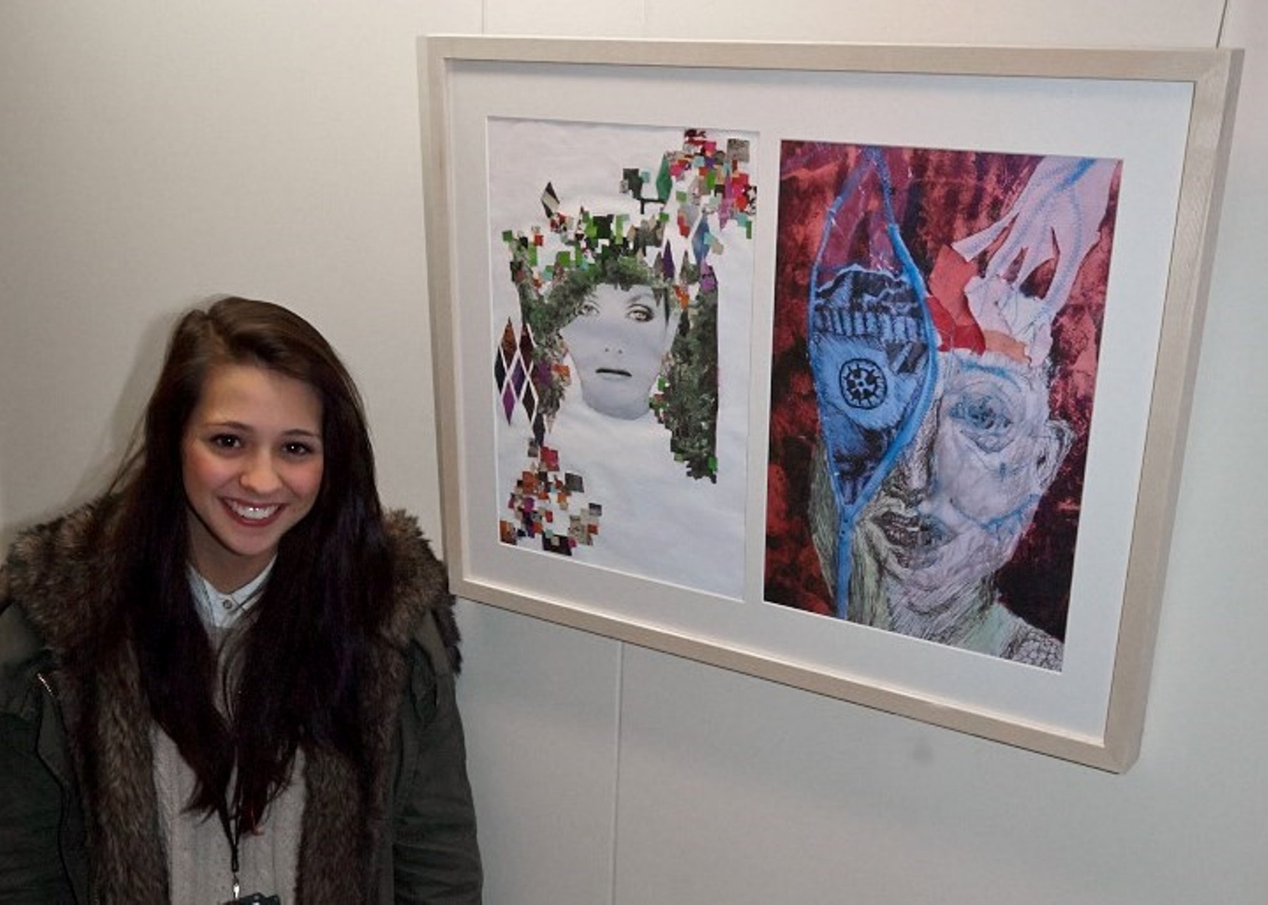 SGS art student Chelsea-Paige Savage, 17, who painted the image in the left hand side of the frame, which is being displayed along with around 40 others at Stroud General Hospital