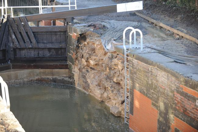 The damaged done to Dudbridge locks which has been caused by the recent bad weather  (3220076)