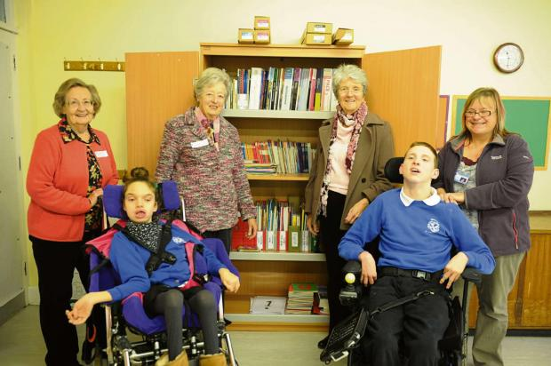(l-r) Jane Tiley, Cerys, 15, Mary Hale, Wendy Fowels, Thomas, 15 and St Roses acting head teacher Wendy Newby. Jane, Mary and Wendy from the Inner Wheel helped out at the school as part of their 90th anniversary (3372684)