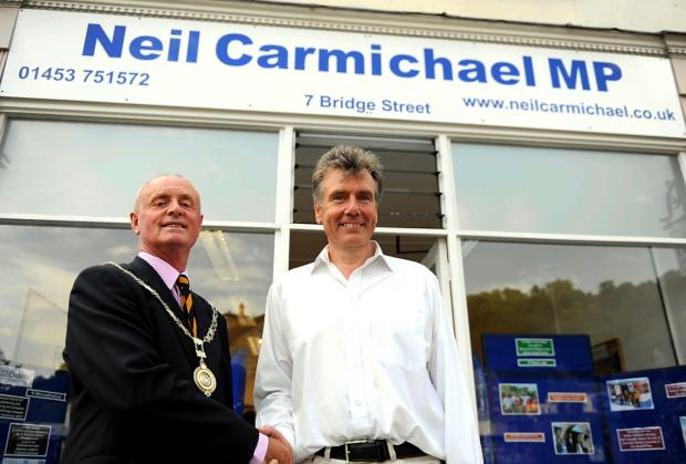 MP Neil Carmichael at the opening of his constituency office in Nailsworth. Pictured with Nailsworth mayor Myles Robinson