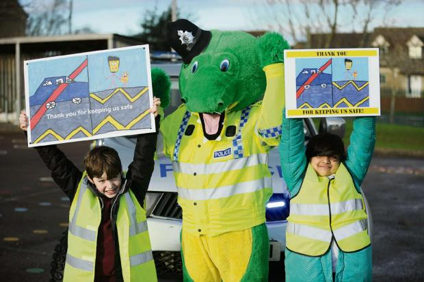 Colin the Crocodile Copper visits Nailsworth Primary School to promote the Thank You For Keeping Us Safe campaign