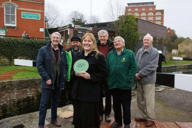 Representatives of CPRE Gloucestershire were joined by Stroud District councillor Simon Pickering and the owner of the LockKeepers Café Wendy Townsend for the launch of their organisation's annual awards scheme on Friday (3631871)