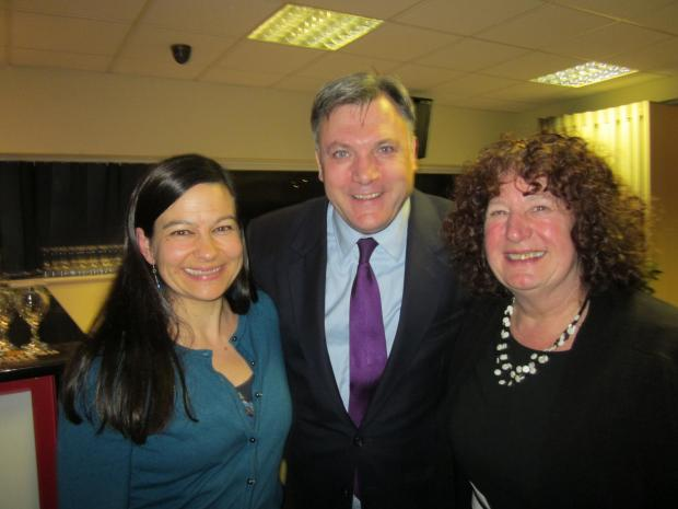 Labour councillors Cllr Doina Cornell (Cam East) and Cllr Liz Ashton (Berkeley) with shadow chancellor Ed Balls in Gloucester (3784847)