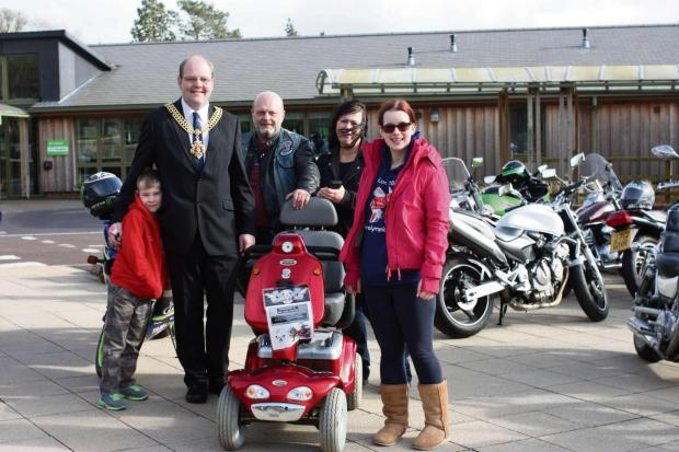 Stroud News and Journal: William Chatterton, Mayor of Gloucester Chris Chatterton, Mat Craddock, who donated the scooter to the college in memory of his father, Ride 'Til We Rot society founder Manda Fairbrother and National Star student Nicki Freeman (4014346)