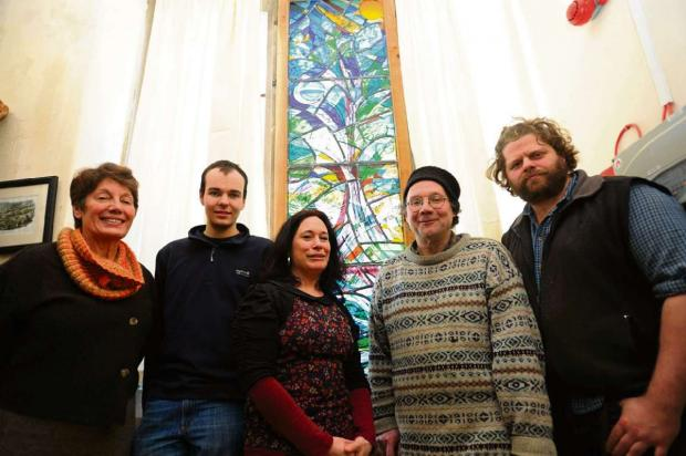 (l-r) Davina Loveridge, Ruskin Mill student Tim Organ, Sophie Churchyard, artist Johannes Steuck and Gavin Pond at the unveiling of the new stained glass window at the Nailsworth Subscription Rooms on Friday, February 7