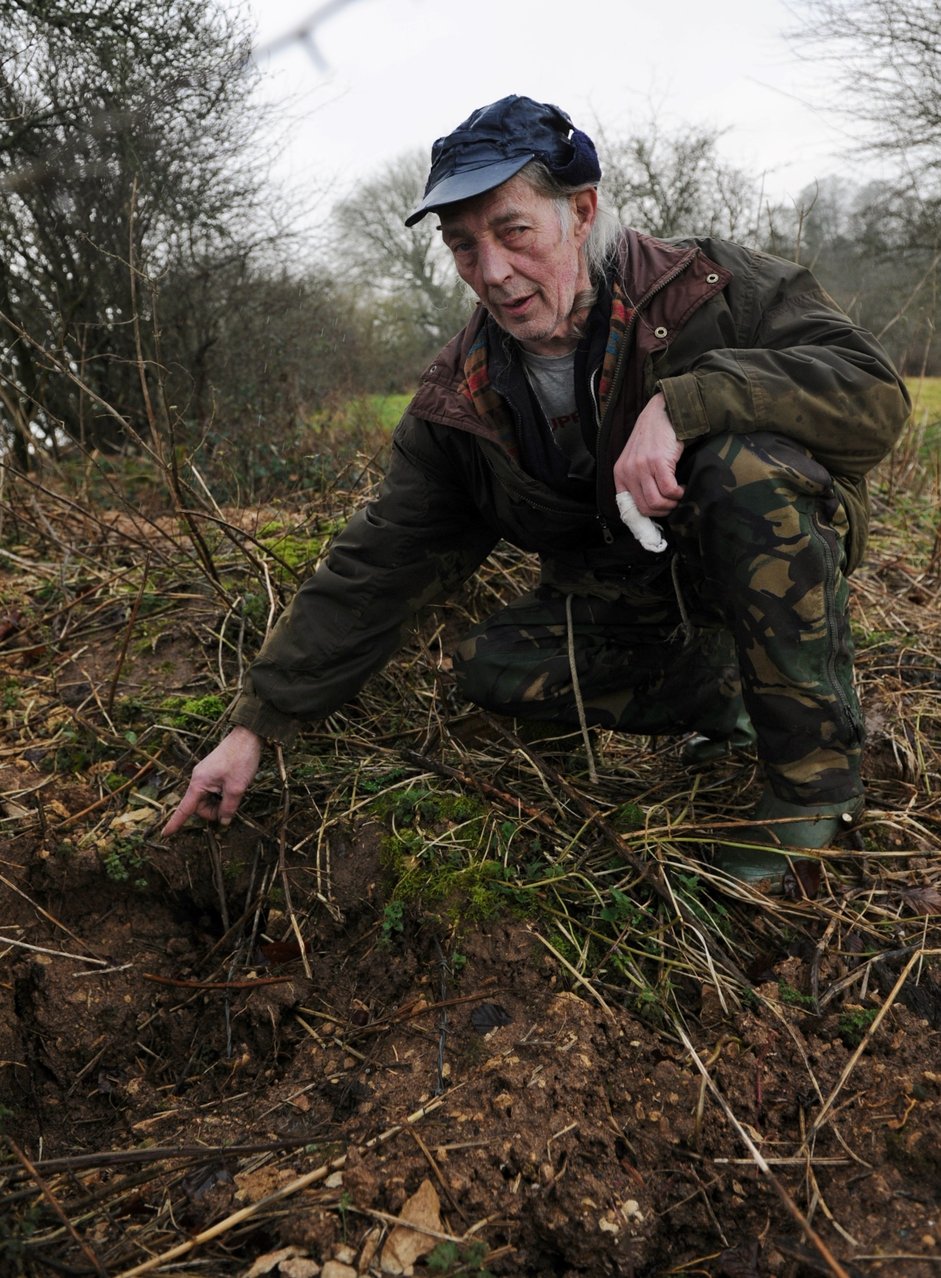 Mike Haines by the filled in badger setts