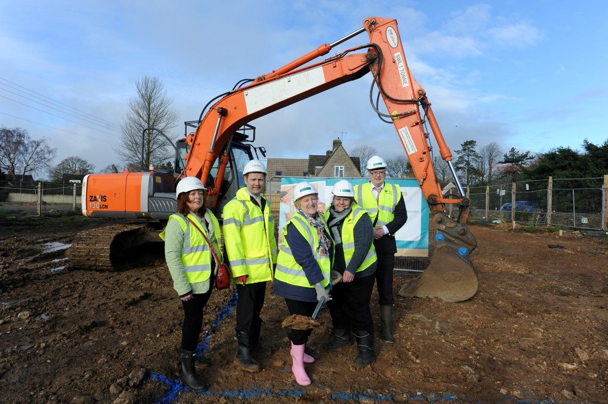 (l-r) Melinda Phillips, David Gough, Cllr Mattie Ross, Sandra Mutton and Peter Stoate at the site where the new council houses will be in Minchinhampton