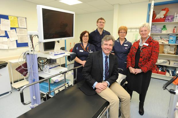Stroud MP Neil Carmichael (front) visits staff at Stroud Hospital to discuss developments in the hospitals. Pictured with (l-r) Michelle Slater, Spencer Edgar, Liz Fenton and Ingrid Barker