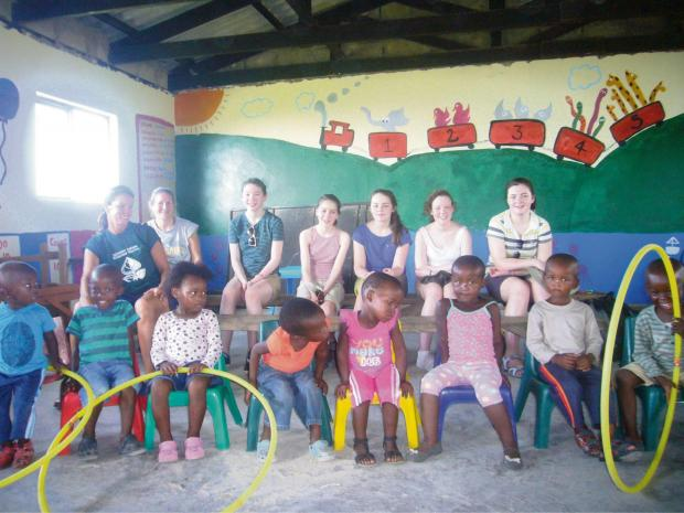 Stroud High School students Lucy Dunlop, Charlotte Lazell, Rebecca Hunt, Jennifer Barr and Abigail Farrell volunteered at a primary school as part of charity trip to South Africa (4273806)