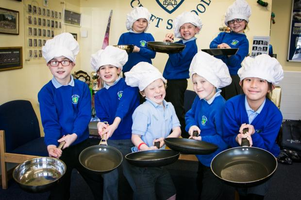 Pantastic... primary pupils from Painswick are hoping for a good turnout on Pancake Day when they will be taking part in races as part of efforts to raise £14,600 to buy 60 tablet touchscreen computers. Picture by Anne Marie Randall Photography