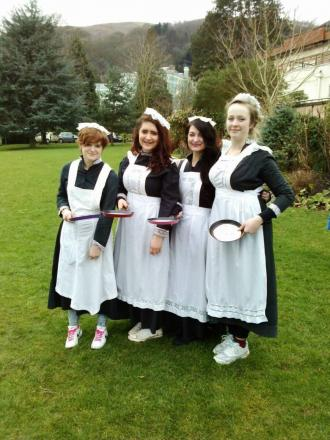The team from Faux Flower Design – (l-r) sisters Robyn and Claudia Thomas with mum Eva Thomas and family friend Charlotte Gibson at the Malvern Rotary Club pancake race