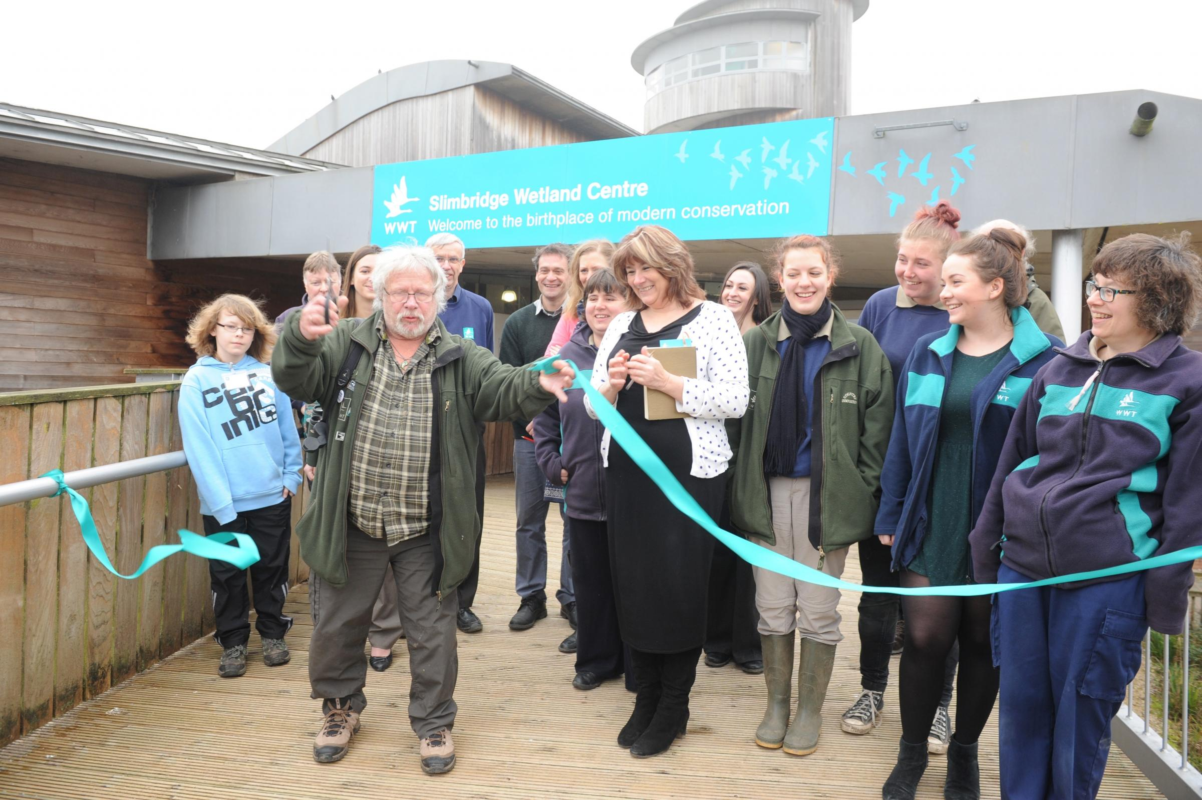 Celebrity birdwatcher and TV presenter Bill Oddie officially opens the new foyer at the Wildfowl and Wetlands Trust Slimbridge Centre