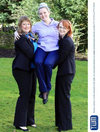 (l-r) Gemma Wright, branch manager of the Stonehouse branch of Coventry Building Society, Emma Boxhall, health care assistant at Cotswold Care Hospice and Claire Guscott, community champion at the Coventry's Stonehouse branch. Coventry Building Societ