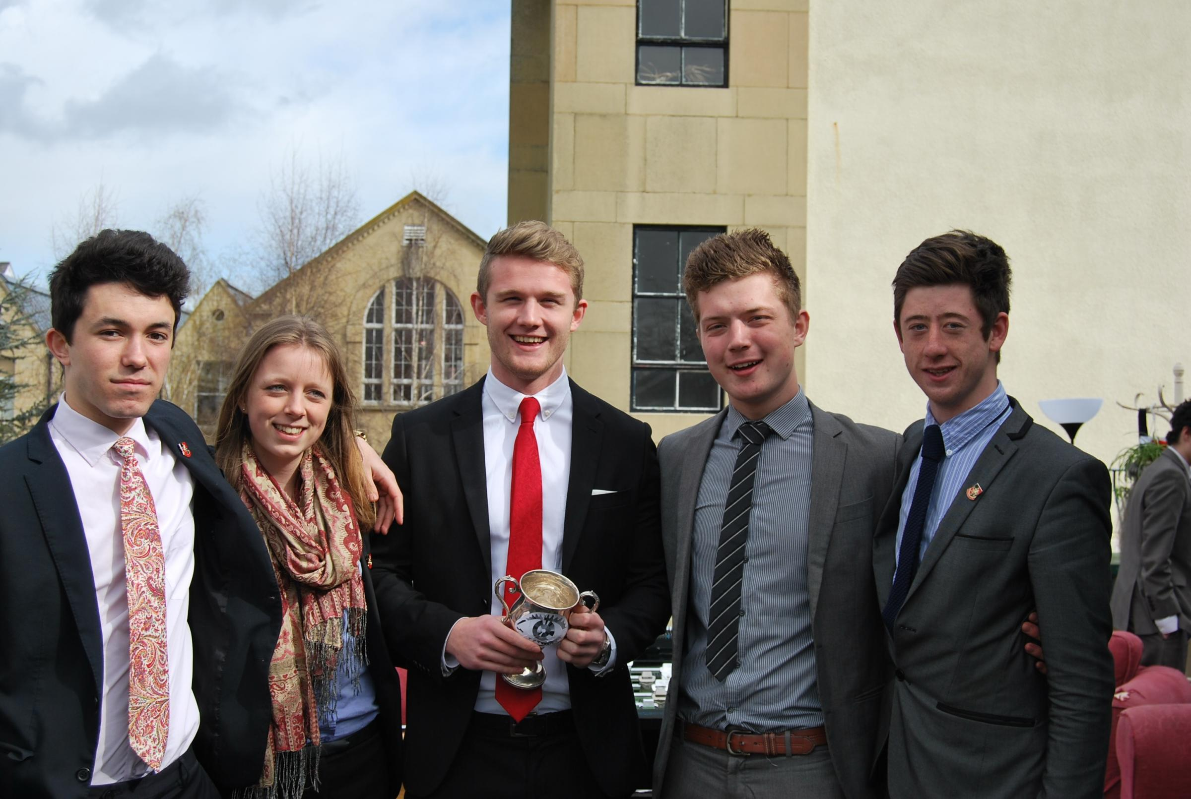 The five finalists in the Wycliffe College Big Brother event held to raise money for former student Rob Camm. (l-r) Kyrs Fishwick, Carrii Elliott, Charlie Hitchcock, Joe Dunne and Jacob Stevenson.