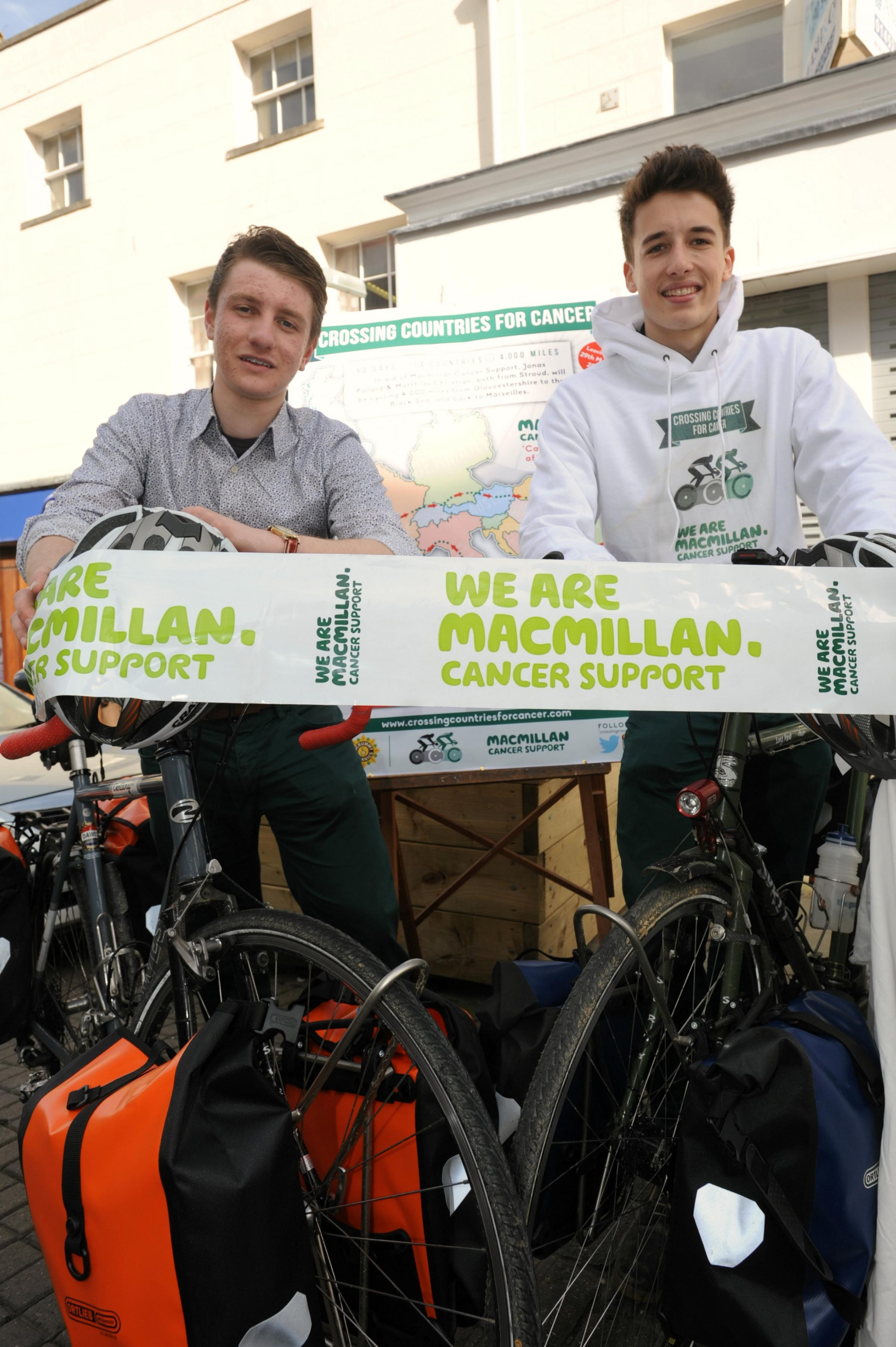 Jonas Pollard (left) and Matthias Christian, both 19, are cycling 4,000 across 14 countries to raise money for Macmillan Cancer Support. The pair are hoping to raise £10,000