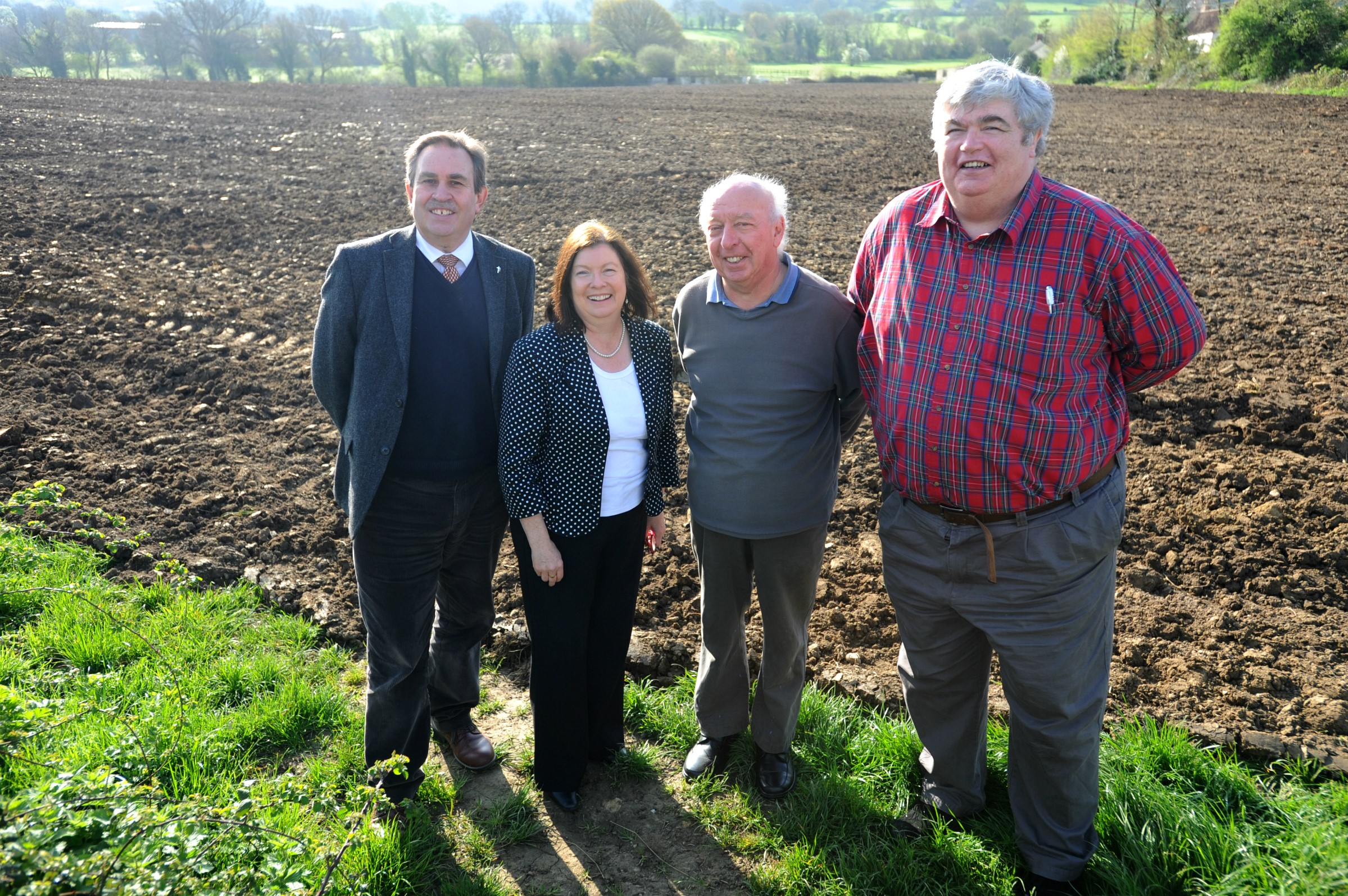 Shadow Minister for Communities and Local Government Roberta Blackman-Woods visits Mankley Field with Labour parliamentary candidate for Stroud David Drew (left), local resident Dave Camm and district cllr Steve Lydon, who represents the Stanleys