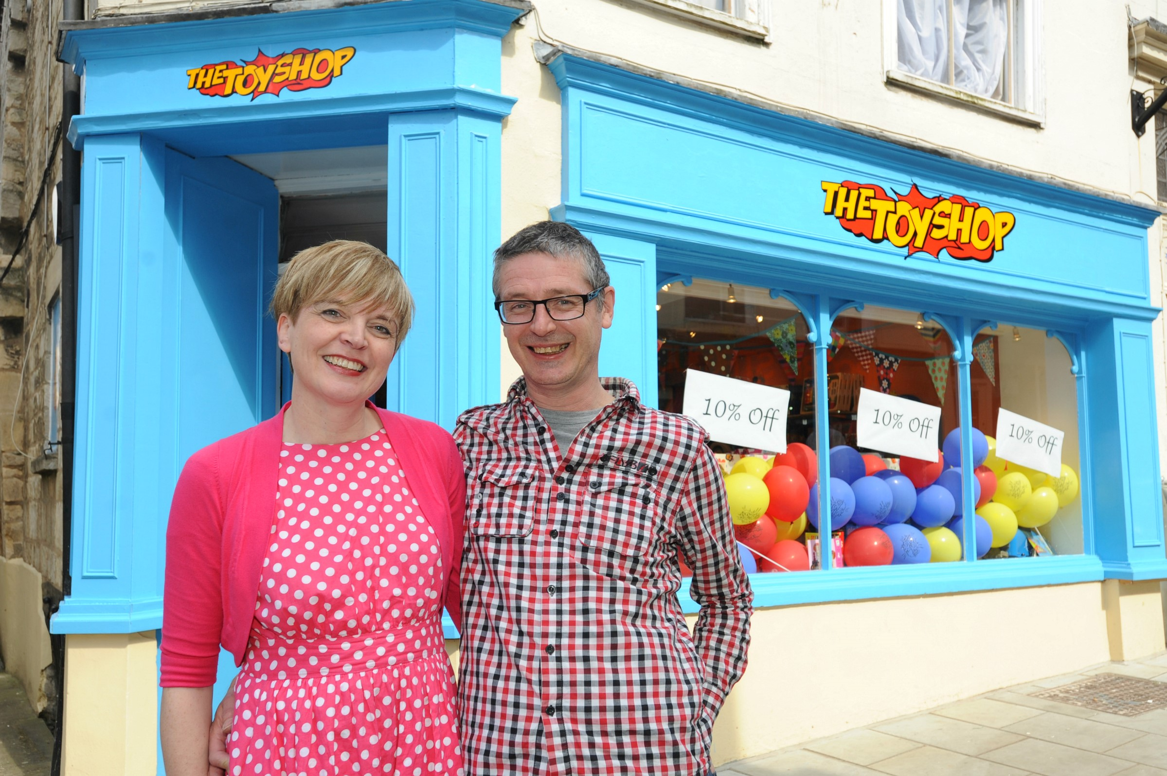 Sally Bradley and Simon Powell outside The Toy Shop