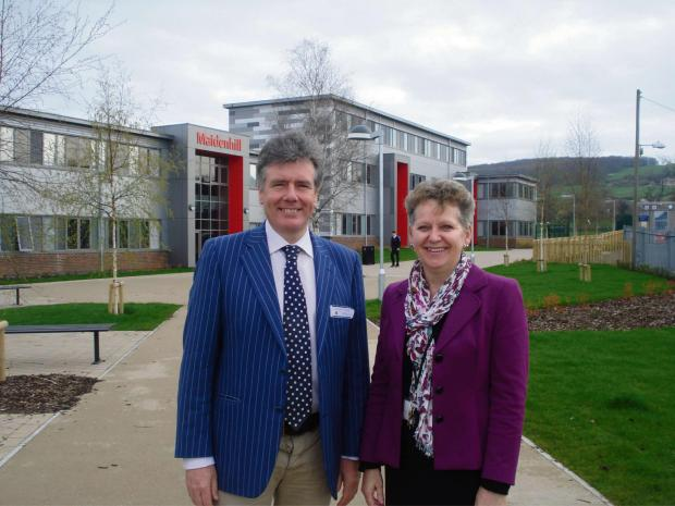 Stroud News and Journal: Stroud MP Neil Carmichael with Maidnehill School headteacher Pam Wilson, during a visit to the school which has just undergone a £3.8million refurbishment (5383864)