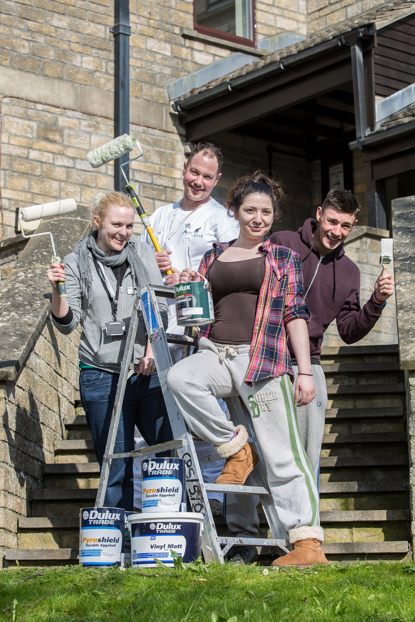 (l-r) Etti Righton, Novus support worker, Geoff Green, from Novus, Ellie Warner and Jamie Allsop redecorating their bedrooms at Ark House(5431542)