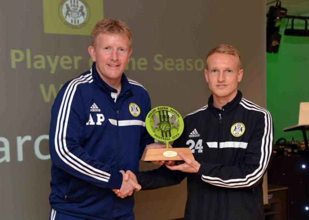 Stroud News and Journal: FGR boss Ady Pennock and Marcus Kelly. Pic: Bruce Fenn