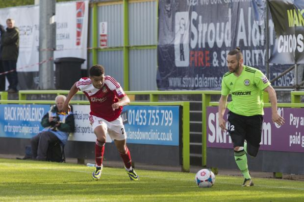 Stroud News and Journal: FAREWELL: Jared Hodgkiss (right) in his last game for Forest Green Picture: Shane Healey