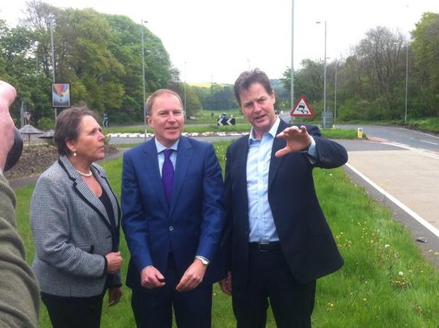 Stroud News and Journal: Deputy Prime Minister Nick Clegg with CDC Lim Dem leader Cllr Paul Hodgkinson and Transport minister Baroness Susan Kramer