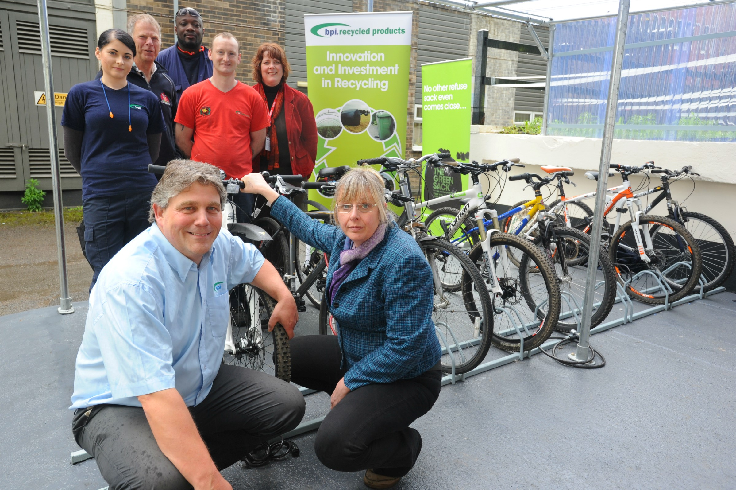 ON YER BIKE: Mike Tyrer, front left alongside SVP chief exectuve Clare Mahdiyone, has signed up his firm BPI Poly for next month's annual bike ride in aid of the Stroud Valleys Project